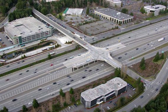 An aerial view of Contra Costa County Freeways