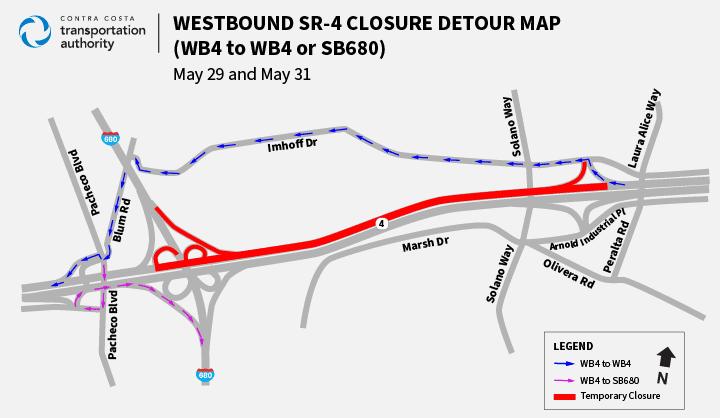 Westbound SR 4 Closure Detour Map WB4 or WB4 to SB680 Traffic Advisory